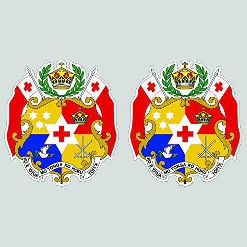 Two Pack Tongan Coat of Arms Sticker Die Cut Decal Self Adhesive Vinyl Made in USA