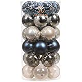 Sea Team 60mm/2.36' Delicate Contrast Color Theme Painting & Glittering Christmas Tree Pendants Decorative Hanging Christmas Baubles Balls Ornaments Set - 30 Pieces (Stone Blue & Silver Grey)