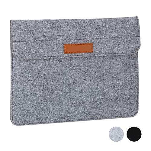 Relaxdays Laptophoes, 13 inch, vilt, beschermhoes laptop en notebook, 4 vakken, laptoptas, 27 x 35,5 x 2 cm, donkergrijs, 1 stuk