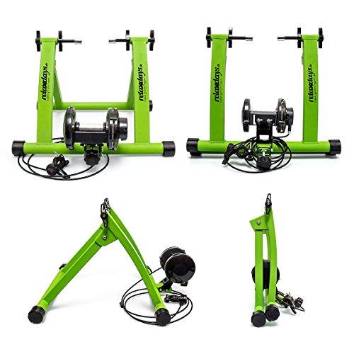 Relaxdays, convierte bicicleta común a estática, Mide: 54 x 46 x 20 cm, verde, Unisex-Adult, 1 Ud