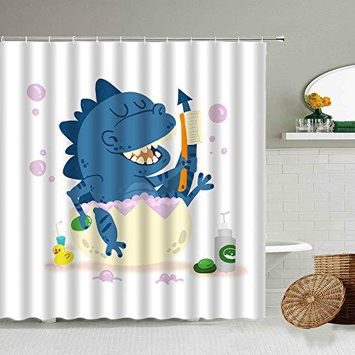 XCBN Cortinas de Ducha de Cerdo de baño de Dibujos Animados de Dinosaurio de Alpaca Lindos niños decoración de baño Cortina Impermeable partición de Inodoro A2 90x180cm
