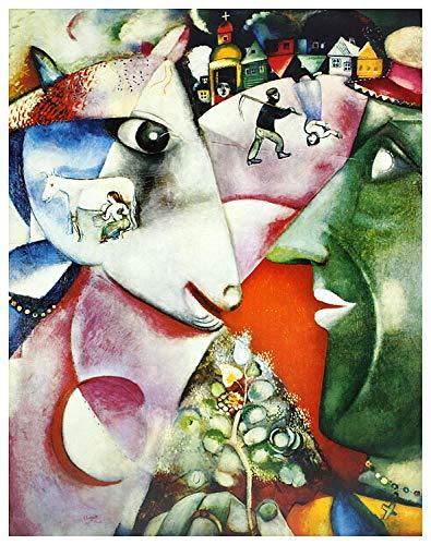 Marc Chagall Poster Kunstdruck Bild I and The Village 63x50cm