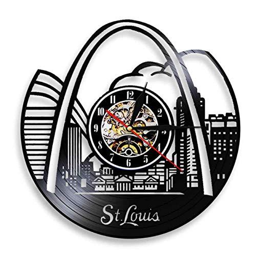 TeenieArt Horizonte De St. Louis Reloj De Pared De Vinilo para Decoración De Home Reloj De Pared, Ideas De Regalo para Niños Y Adolescentes, Moderno Reloj De Cuarzo Digital Creativo De 12Inch