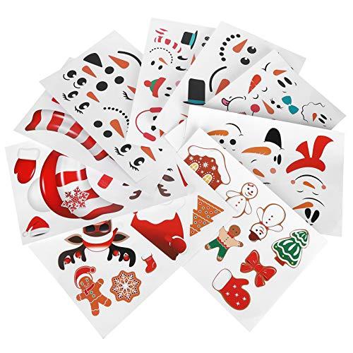 Cosiki Etiquetas engomadas del refrigerador, Etiquetas engomadas de la Taza 9PCS, decoración navideña PVC muñeco de Nieve patrón de Alce para Azulejos, Espejos, Puertas, escaleras