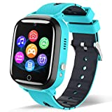 Smart Watch for Kids - Children Smartwatch Boys Girls with 2 Way Phone Calls 7 Intelligent Games Music MP3 Player HD Selfie Camera Calculator Alarm Timer 12/24 Hours for 4-12 Years Old Students (Blue)