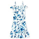The Children's Place Girls' Sleeveless Floral Two Piece Dress, True Blue, S (5/6)