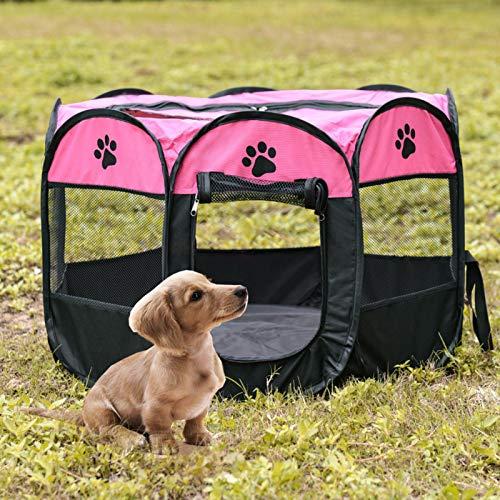 Maifa - Box per cane per animali da compagnia, pieghevole, in tessuto Oxford portatile, impermeabile, resistente ai graffi, ottagonale, copertura parasole rimovibile per cuccioli e gatti