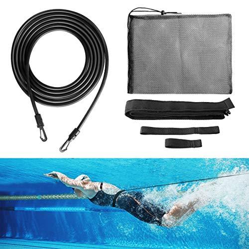 ulocool Einstellbare Pool Schwimmgürtel, Schwimmwiderstand Gürtel, Schwimmgurt mit Elastikband für chwimmingpools Widerstandstraining, Schwimmtrainer Gürtel für Kinder/Erwachsene