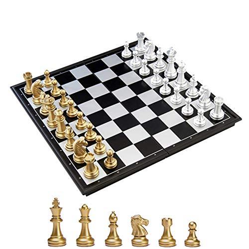 KOKOSUN チェスセット 国際チェス マグネット式 折りたたみ盤 チェスボード 金と銀の駒 収納便利 (M)