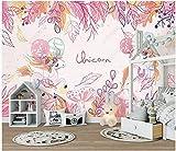 Fotomurales Decorativos Pared Vinilos Decorativos Papel Fotografico 3D Habitación Infantil Unicornio Rosa Papel Pintado Cuadros Habitacion Bebe Posters Mural Pared
