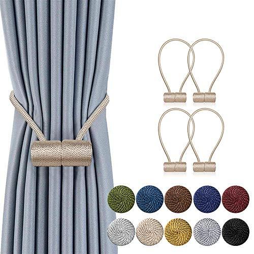 DCLYSI 4 Pack Magnetic Curtain Tiebacks,16 Inch Decorative Curtain Holdbacks for Window Décor