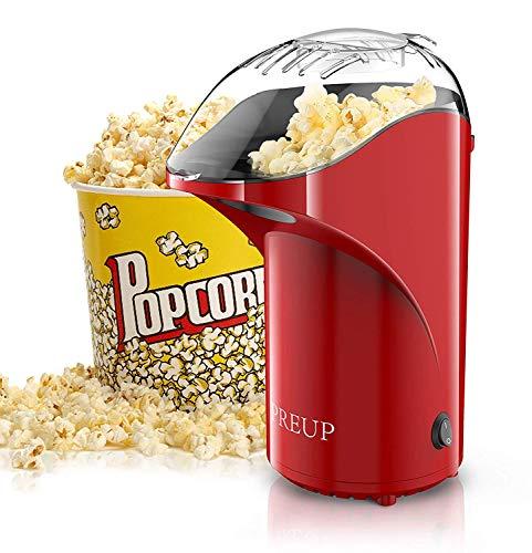 Preup Popcornmaschine, Heißluft Popcorn Maker mit Großer Kapazität, Heißluft Ohne Öl, Weites-Kaliber-Design,Abnehmbarem Deckel und BPA-Frei