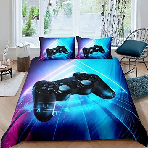 Juego de funda de edredón para niños y niñas, videojuegos, controlador, juego de cama para adolescentes y jugadores, funda de edredón de doble tamaño de lujo azul morado y azul
