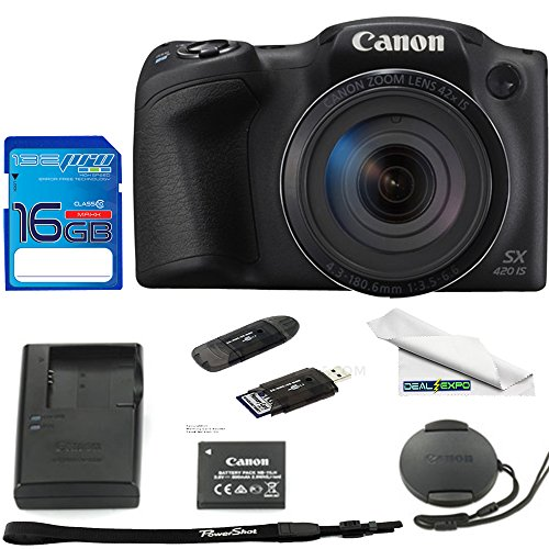 Canon PowerShot SX420 Digital Camera w/ 42x Optical Zoom - Wi-Fi & NFC Enabled (Black) - Deal-Expo Bundle