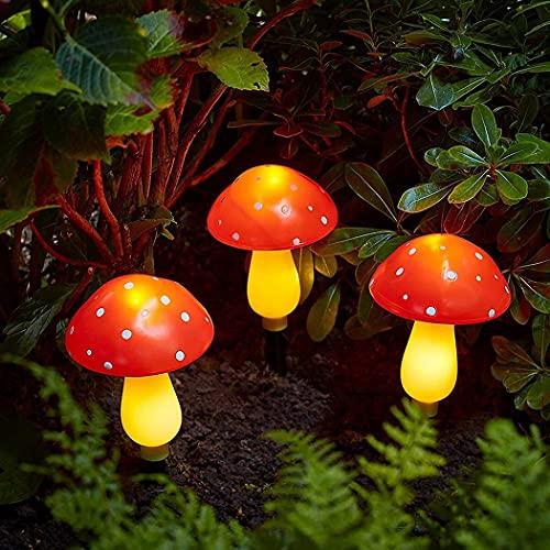 Yinitoo Cadena de luz de hongos de energía solar 9LED, lámpara para decoración de fiesta de jardín, patio, al aire libre