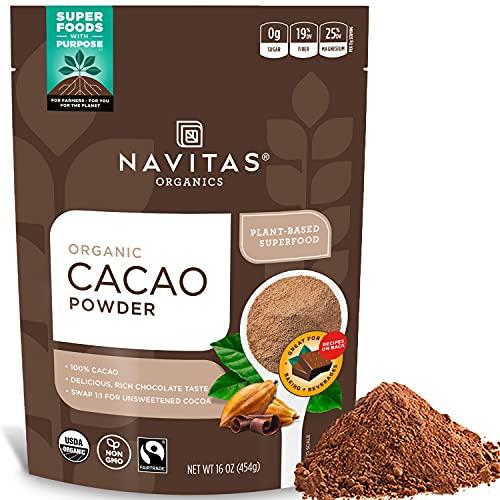 Navitas Organics Cacao Powder, 16oz. Bag, 30 Servings - Organic, Non-GMO, Fair Trade, Gluten-Free