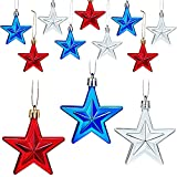18 Pieces Star Ornaments for Christmas Tree 4th of July Hanging Decorations Hanging Holiday Flag Day Ornament Patriotic Day Independence Day Labor Day for Home Party Indoor Outdoor Blue Silver and Red