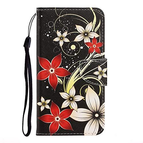 Nadoli für iPhone 11 Pro Max Hülle,Rot Weiß Blume Muster PU Leder Magnetisch Flip Brieftasche mit Handschlaufe Kartenslot Ständer Klapphülle für iPhone 11 Pro Max