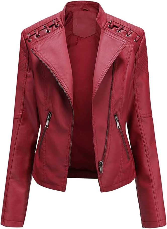 CDQYA Spring Women's Leather Jacket Slim Turn-Down Collar Short PU Leather Jacket Women Zipper Motorcycle Jackets Outwear Female (Color : Red, Size : M Code)