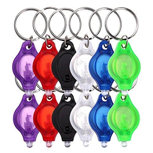 Schramm® 12er Pack LED Schlüsselanhänger Taschenlampe flach mit Schlüsselring Mini LED Taschenlampen Lampe Kinder Kindertaschenlampe