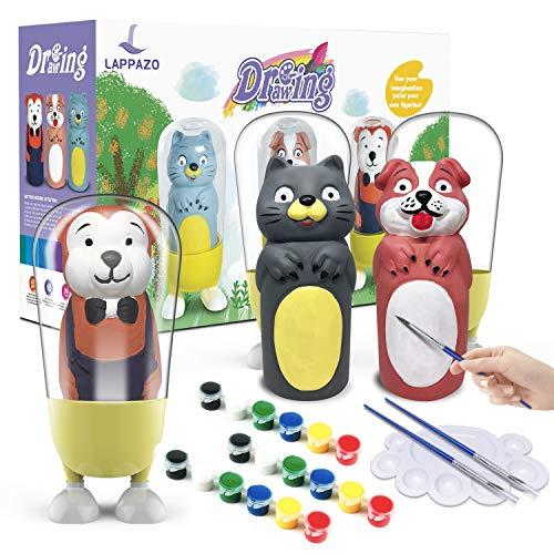 LAPPAZO Pintura Kit Colorear para Niños Figuras de Yeso de Animales DIY Manualidad Creativo Educativo Juguetes para niños Dibujo Graffiti Kit Pintar Juegos Regalos