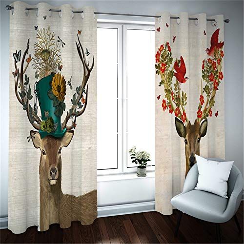 FACWAWF Household 3D Sika Deer Pattern Curtain Polyester Fabric Blackout Fabric, Suitable For Anti-Ultraviolet Curtains For Dining Room, Living Room, Bedroom And Study Room (1 Pcs) 132x160cm(1pcs)
