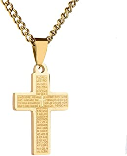 Fusamk Fashion Religious Stainless Steel Christian Cross Tag Pendant Scripture Necklace
