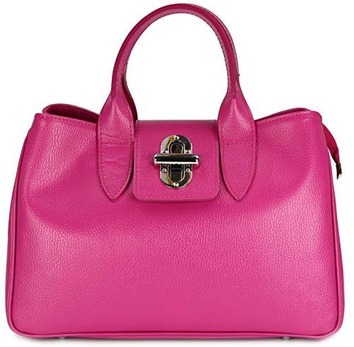 Belli Echt Leder Handtasche Damen Ledertasche Umhängetasche Henkeltasche in pink - 36x25x18 cm (B x H x T)