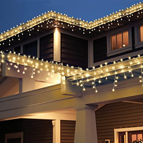 [240 LED] Lichterkette, 9M 8 Modi Lichterkette Außen Strom Weihnachtsbeleuchtung Wasserdicht Außen/Innen LED Lichterkette mit Memory-Funktion für Garten Balkon Weihnachtsbeleuchtung Außen, Warmweiß