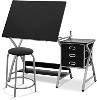 Artiss Drawing Desk Tilt Art Craft Drafting Desk Table with Stool and Removable Drawers