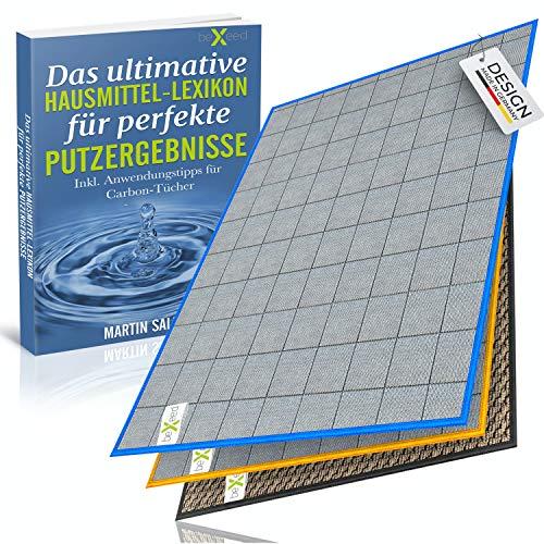 BEXEED Fenstertuch - Innovatives Carbon Fensterputztuch inkl. Vorreinigungs-Tuch - fusselfreie Glas-Putz-Tücher - streifenfreie Fenster & Scheiben…