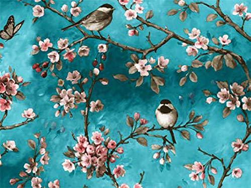 Mambo-Design PVC Tischdecke Polly Vogel Türkis Wachstuch · Eckig · Länge & Breite wählbar · abwaschbare Tischdecke · Kirschblüten Rosa Japan Meise, Größe:140 x 110 cm
