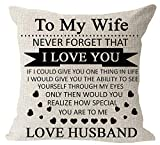 Anniversary Birthday to My Wife I Love You You are Special to Me Love Husband Cotton Linen Square Throw Waist Pillow Case Decorative Cushion Cover Pillowcase Sofa 18'x 18'