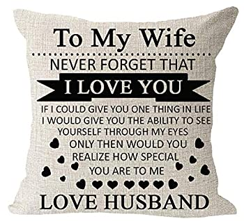 Anniversary Birthday to My Wife I Love You You are Special to Me Love Husband Cotton Linen Square Throw Waist Pillow Case Decorative Cushion Cover Pillowcase Sofa 18 x 18