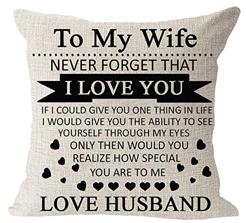 "Anniversary Birthday to My Wife I Love You You are Special to Me Love Husband Cotton Linen Square Throw Waist Pillow Case Decorative Cushion Cover Pillowcase Sofa 18""x 18"""