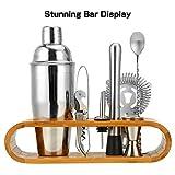 Hochwertiges Cocktailshaker Set, Cocktailmixer Set, 10 Teileig, aus Edelstahl, mit Bambus-Aufbewahrung, inkl. Cocktail-Shaker, Messbecher, Ausgießer, Bar Stößel, Bar Löffel, Eiszange, Öffner, Barmaß - 3