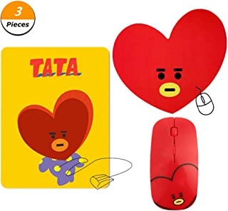 Cianowegy BTS Gift Set for Army- Kpop BTS Cartoon Mouse Wireless Mouse with 2 BTS Mouse Pad for A.R.M.Y Cooky RJ Mang Koya Tata Chimmy Shooky(TATA)