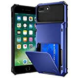 VEGO Compatible for iPhone 8 Plus Card Holder Case, iPhone 6 Plus Wallet Case Dual Layer Hybrid Hard Shell Back Rubber Bumper Credit Case for iPhone 6 Plus 6s Plus 7 Plus 8 Plus 5.5 inch, Blue