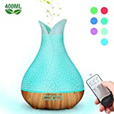 Mist Humidifiers for Bedroom [BPA Free], 400ml Remote Control Essential Oil Diffuser with 7 Color Lights and 4 Timer, Quiet and Ultrasonic Humidifier for Bedroom Nightstand, Filterless, Auto Shut Off