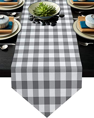 Cotton Linen Burlap Table Runner Grey and White Checker Home Decorative Table Cloth Cover for Kitchen Dining Banquet Party/Parties Tabletop Picnic Dinner Buffalo Plaid Lattice 16x72in