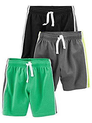 Simple Joys by Carter's Baby Boys' Toddler 3-Pack Mesh Shorts, Black, Green, Gray, 4T