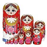 QIFFIY muñeca Rusa Matryoshka Nessing Dolls, Set 10 Piezas Pink Matryoshka Muñecas Rusas Tradicionales Nesting Russing Muñecas de Madera Packing Juguete Niños Regalo Matryoshka