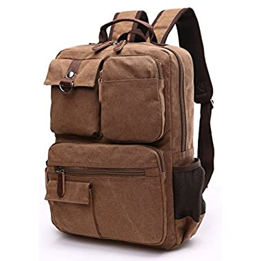 Canvas Backpack, Aidonger Vintage Canvas School Backpack Hiking Travel Rucksack Fits 14'' Laptop (Coffee-48)