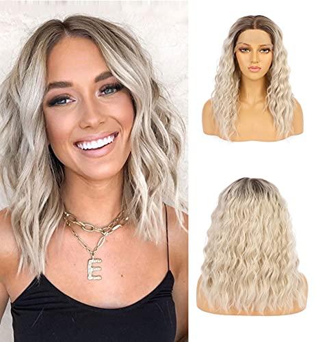 VEBONNY Braune Ombre Perücke Blond, Lockige Perücke Kurz Lace Front Perücke, Vebonny Perücke, Wigs for Women 18 inch