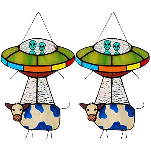 Colgante OVNI de vaca alienígena, colgante de ovni pintado, para ventanas puertas, decoración del hogar y regalos-2 piezas