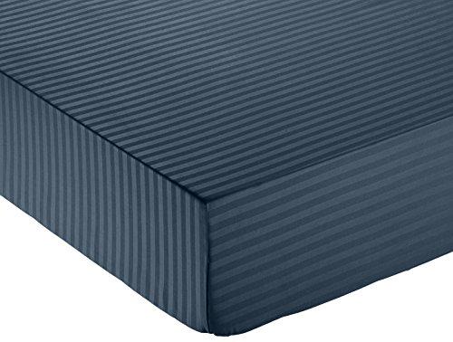 Amazon Basics - Deluxe-Spannbetttuch, Mikrofaser, gestreift, 140 x 200 cm - Marineblau