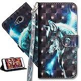 HMTECH LG Xpower 2 Hülle Luxus 3D Süßes Wolf Flip Standfunktion Karten Slot Magnetverschluß Brieftasche Taschen Schalen Handy Ledercase für LG Xpower 2,Wolf