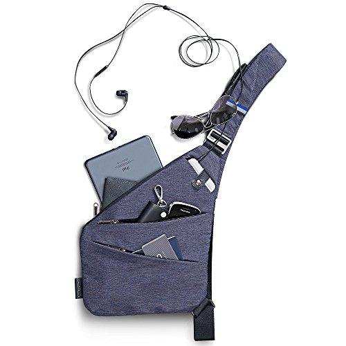 NIID-FINO Classic Sling Shoulder Crossbody Chest Bag Slim Backpack Multiuso Daypack (Jazz Azul, Mano Izquierda)