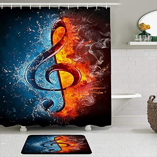 SUDISSKM de alfombras de baño con Cortinas de Ducha Alfombrillas de baño Antideslizantes Impermeables Conjuntos,Notas Musicales abstractas de Hielo y Fuego de Doble día
