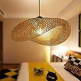 Vintage Pendelleuchte E27 Kronleuchter Retro Industrial Pendellampe Natürlichen Bambus Gewebt Hängeleuchten Höhenverstellbar Hängelampe Esszimmer Studie Wohnzimmer Cafe Wohnzimmer Lampe,60cm